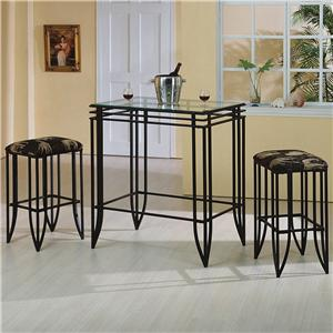 3 Piece Glass Top Pub Table and Chairs Set