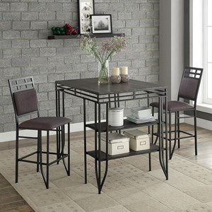 Counter Height Table Set with Two Stools