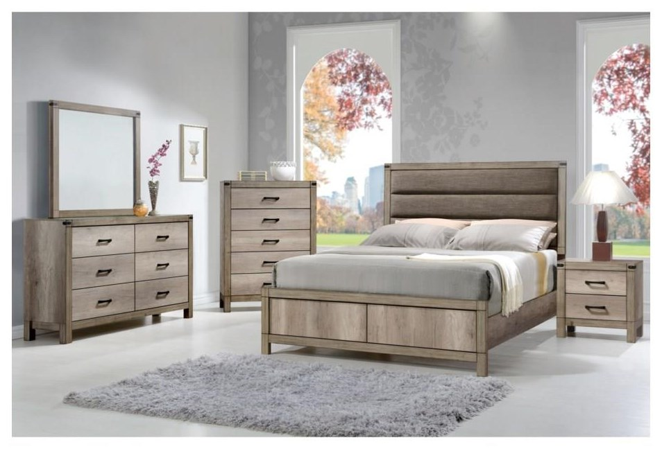 Matteo Queen UPH Low Profile Bed Package by Crown Mark at Sam Levitz Outlet