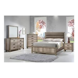 King Upholstered Low Profile Bed, Dresser, Mirror and Nightstand Package