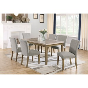 7 Piece Faux Marble Table and Upholstered Chair Set