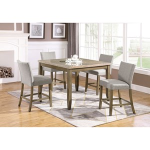 5 Piece Faux Marble Counter Height Table and Upholstered Chair Set