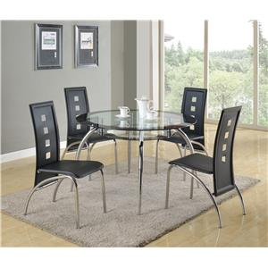 5 Piece Round Glass Table and Modern Side Chair Set