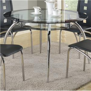 Round Glass Dining Table with Suspended Platform Under Table Top