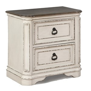 Relaxed Vintage Two Drawer Night Stand with Two-Tone Top