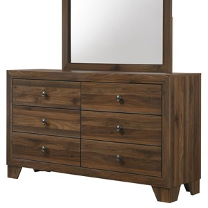 Transitional 6-Drawer Dresser with Metal Hardware