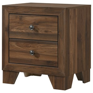 Transitional 2-Drawer Nightstand with Metal Hardware