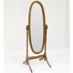 Oak Finish Cheval Floor Mirror