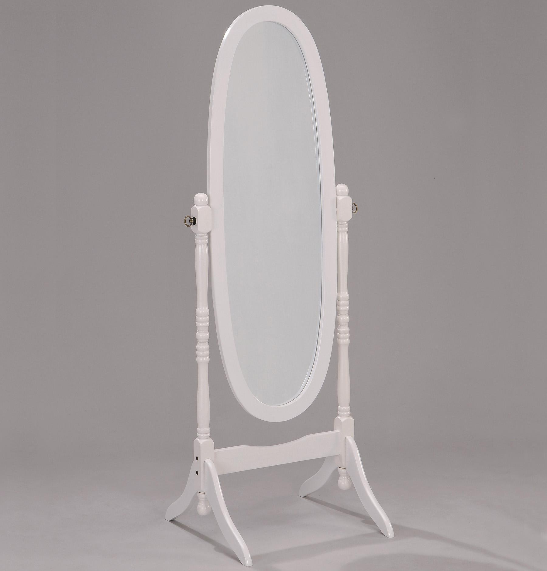 Miscellaneous White Finish Cheval Mirror          by Crown Mark at Darvin Furniture