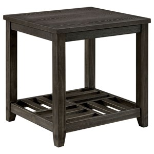 Transitional End Table with Bottom Shelving