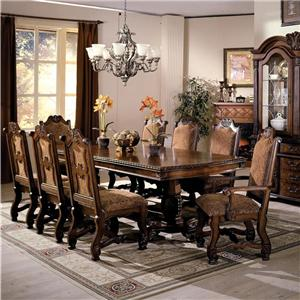 Double Pedestal Dining Table and Chairs with Traditional Upholstered Seats