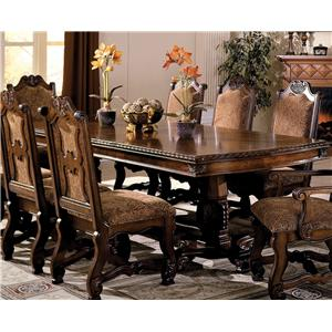 Double Pedestal Dining Table with Two 18 Inch Leaves