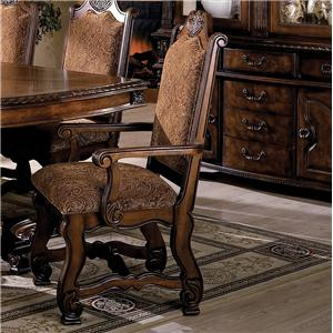 Dining Arm Chair with Traditional Upholstered Seat