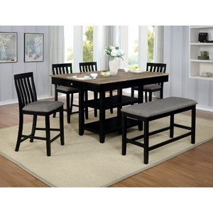 Relaxed Vintage 6 Piece Dining Set with Upholstered Bench