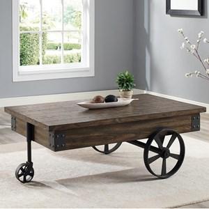 Wagon Wheel Coffee Table with Drawer