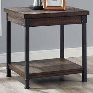 Rustic-Industrial End Table with Open Shelf