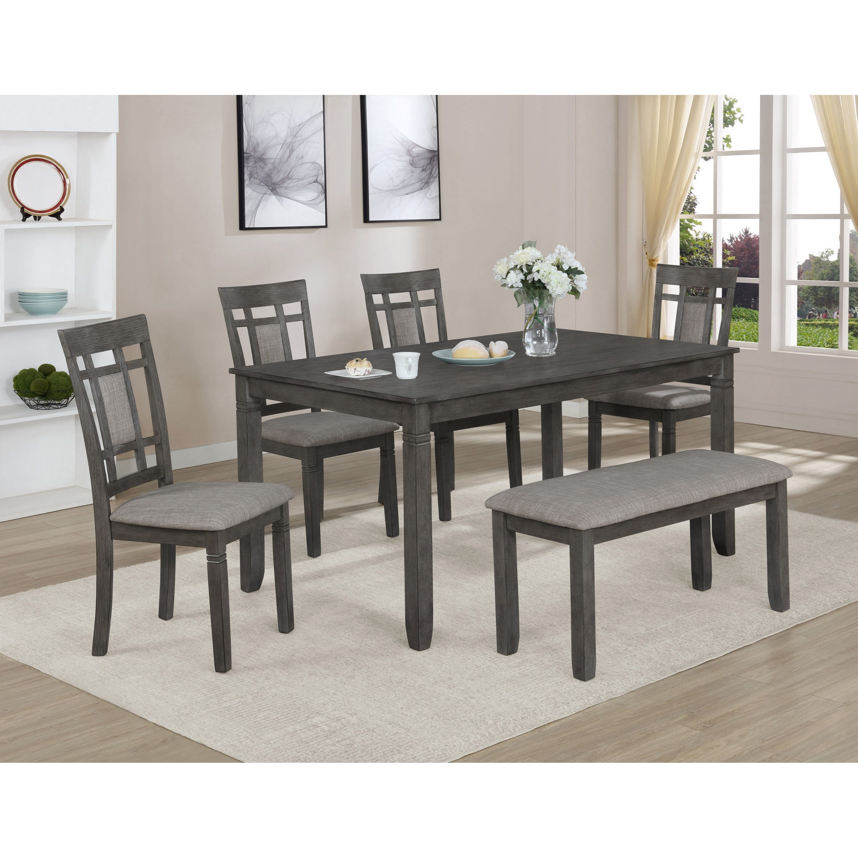 Paige 6-Piece Table and Chair Set with Bench by Crown Mark at Northeast Factory Direct