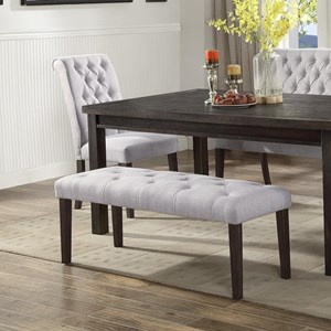 Upholstered Dining Bench with Button Tufting