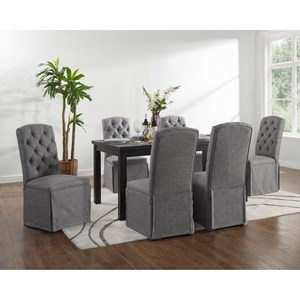7 Piece Rectangular Table and Upholstered Chair Set