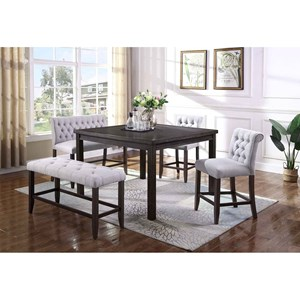5 Piece Counter Height Table and Upholstered Chair and Bench Set