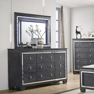 Glamorous Dresser and Mirror Set with LED Light