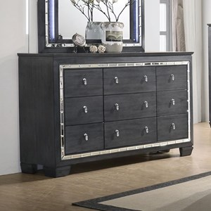 Contemporary Dresser with Mirror Accents