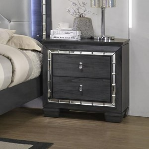 Contemporary Nightstand with Mirror Accents