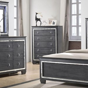 Contemporary Chest with Mirror Accents
