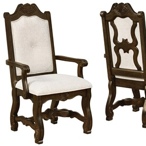 Traditional Carved Dining Arm Chair with Cream Upholstery
