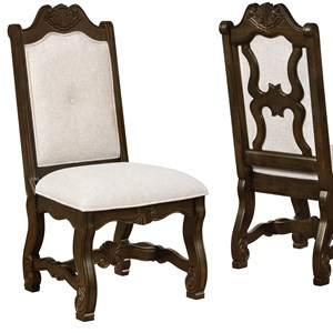 Traditional Carved Dining Side Chair with Cream Upholstery