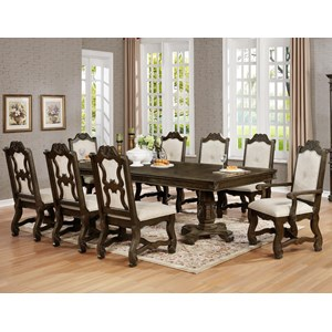 Traditional Nine Piece Dining Set with Pedestal Table and Two Extension Leaves