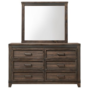 Five Drawer Chest and Mirror Set with Metal Accents