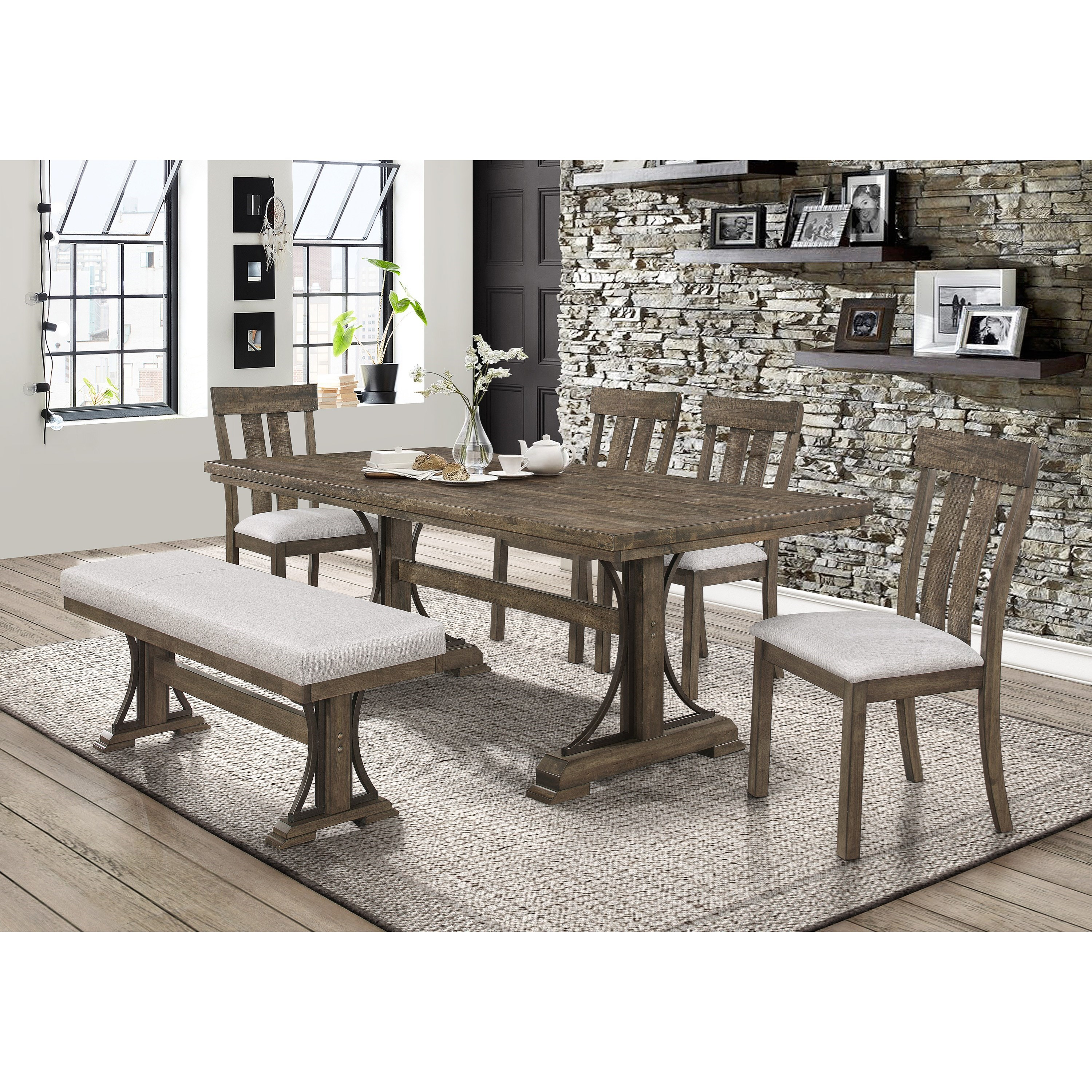 Quincy Dining Set with Bench by Crown Mark at Northeast Factory Direct