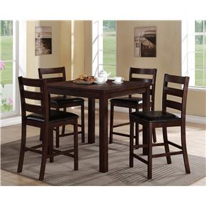 5 Piece Counter Height Table Set with Ladderback Side Chairs