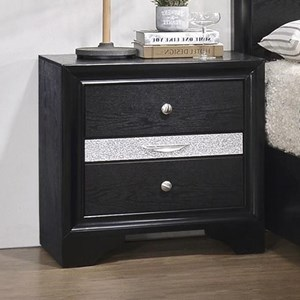 Contemporary 3 Drawer Night Stand with Felt Lined Drawer