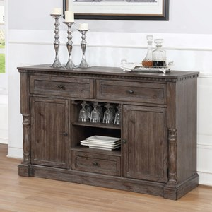 Transitional Dining Room Server with Wine Glass Storage