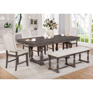 6 Piece Transitional Table Set with Bench