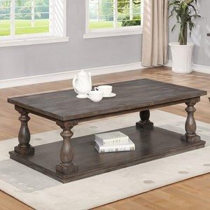 Coffee Table with Four Casters and Turned Legs