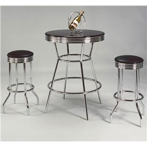 3 Piece Bar Table and Swivel Stools Set