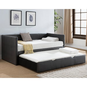 Casual Faux Leather Daybed with Pull-Out Trundle Bed