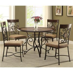 Casual Table and Chair Set with Scroll Motif