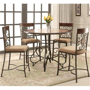 Counter Height Dining Set with Scroll Motif