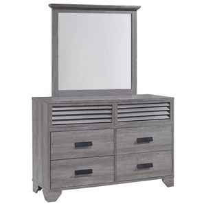 Casual Six Drawer Weathered Gray Dresser and Mirror Set