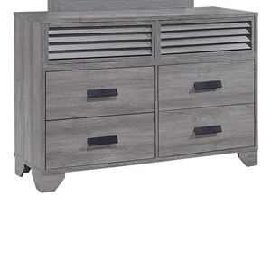 Casual Six Drawer Weathered Gray Dresser