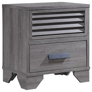 Casual Two Drawer Weathered Gray Night Stand