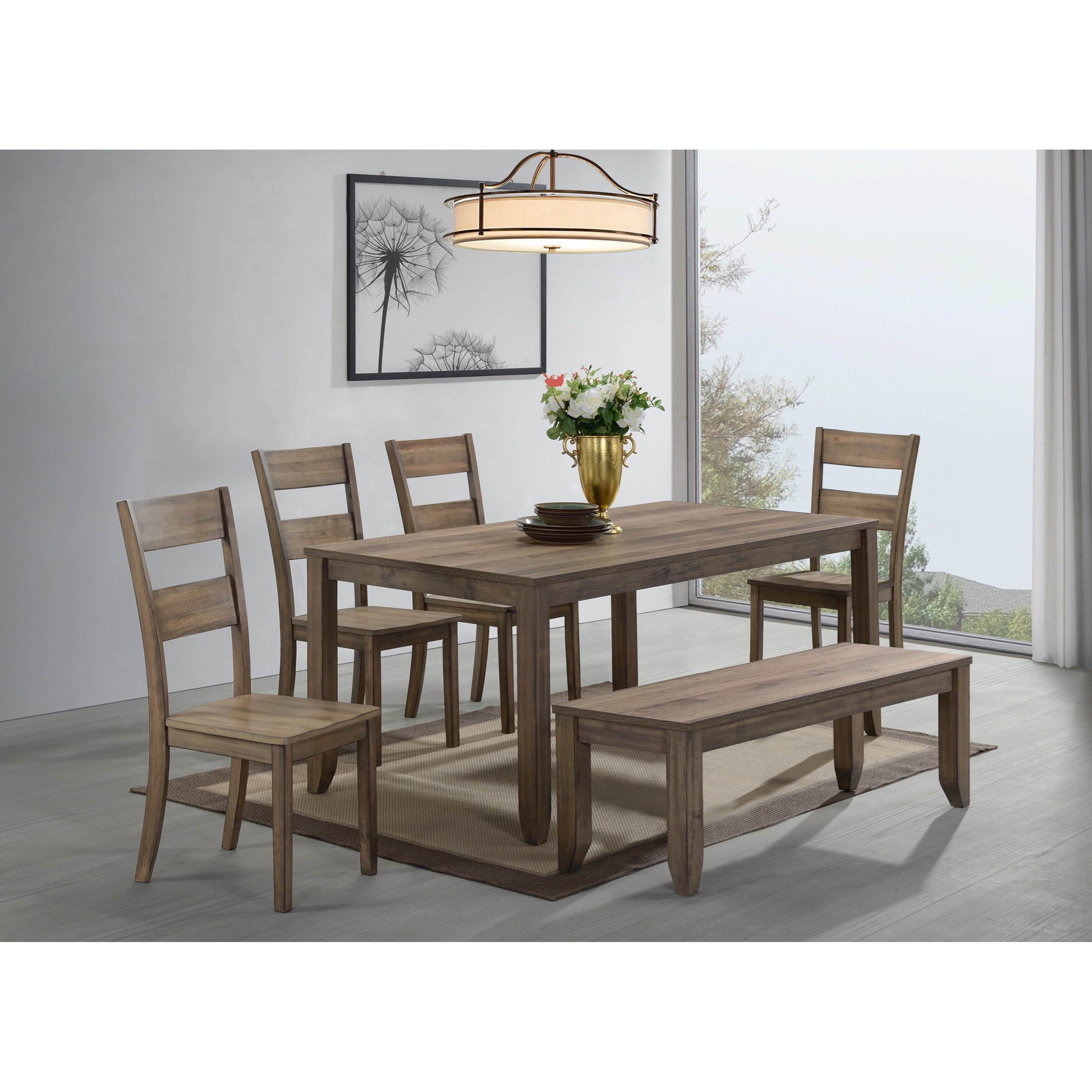 Sean 6 Piece Dining Set with Bench by Crown Mark at Northeast Factory Direct