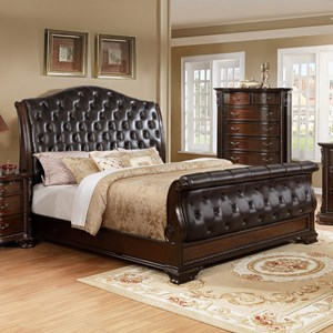 Upholstered King Sleigh Bed with Button Tufting