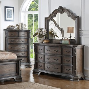 9 Drawer Dresser and Mirror Set