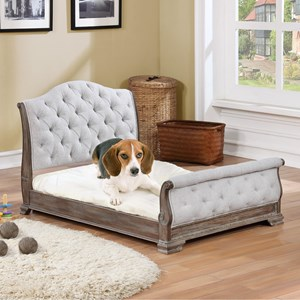 Upholstered Pet Bed with Button Tufting