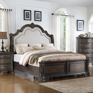 King Panel Bed with Upholstered Headboard and Nailhead Trim